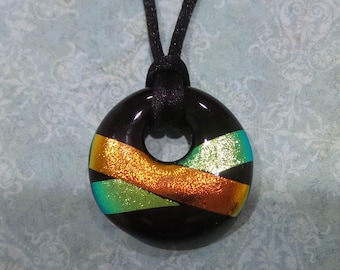 One of a Kind Dichroic Glass Pendant, Donut Pendant, Orange, Yellow Green, Black, Fused Glass Pendant, Ready to Ship - Shay -7