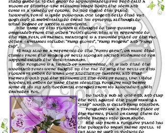 FOXGLOVE FLOWER Fairy Magic, BoS Grimoire Instant Download Page, Book of Secrets, Glamerie