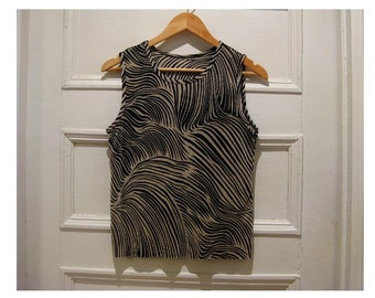 Vintage 90s black beige tank top -sleeveless top- retro vintage hipster top- eco friendly clothes- women's MEDIUM