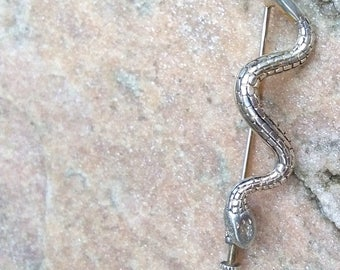 French antique Snake solid sterling silver brooch engraved wild animal bracelet ornated snake