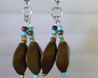 Brown and Teal Beaded Earrings
