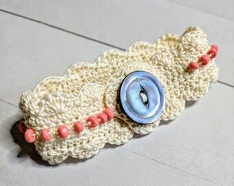 Pink Beaded Frill Crocheted Bracelet