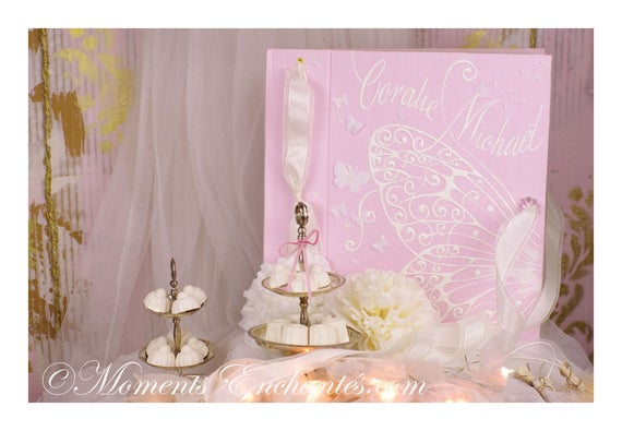 Album photo mariage  naissance souvenirs pink  butterfly ornements wedding baby shower guestbook scrapbooking hand painting