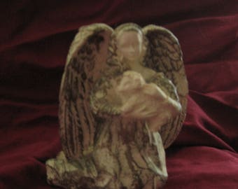 Vintage Kneeling Angel Candleholder, Angel is Cradling a Lamb in her Arms, Cream with Gold Accents  - FESTIVE & LOVELY