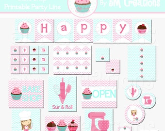 Bake Shop Birthday Party Printable Decorations Package - Baking Party Printables -Party Banner -Cupcake Party Package - INSTANT DOWNLOAD Pdf