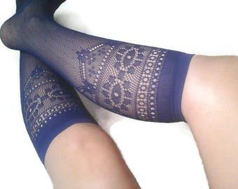 floral fishnet vintage socks
