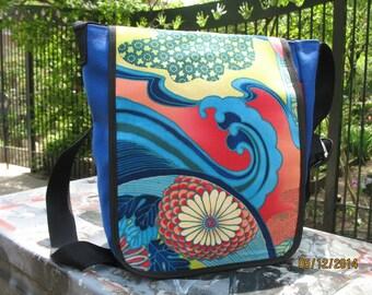 Japanese Bonsai Print Canvas Messenger Bag, Crossbody Shoulder Bag, Daybag, Asian Print Courier Bag