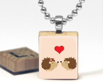 Hedgehogs In Love Scrabble Tile Pendant Necklace by Cheeky Monkey Pendants Gift-Present