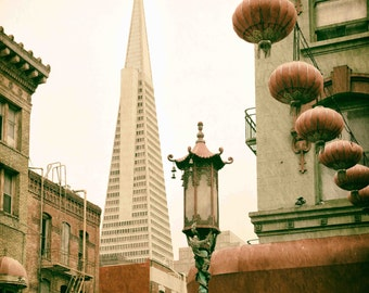 Chinatown and Transamerica Pyramid in San Francisco Photograph, Chinese Lantern, Architecture, Vintage, Red, Green, Beige - East Meets West
