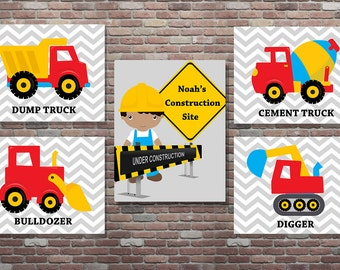 Construction Wall Art,Personalized Construction Set, DIGITAL, YOU PRINT, African American Boys Construction,Construction Nursery Decor