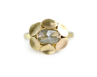 Gray Rose Cut Diamond Halo Ring - Diamond Ring - Recycled 14k Yellow Gold