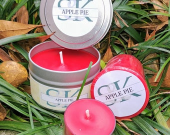 Scented Soy Votive Candle - Apple Pie | Scented Candles | Handmade | Hand Poured | Cruelty Free | Gift Ideas | Red Candles | Food