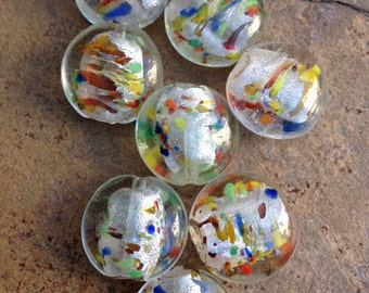 Multi Colored Glass Beads, White, Clear Silver Foil-lined with Red, Blue and Yellow Flex, 8 loose beads, 20mm