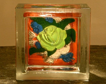 PAINTED FLOWER in Glass Block