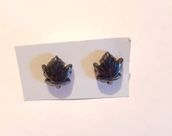 Maple leaf hematite stud earrings