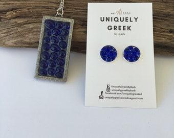 Blue Repurposed Wine Bottle Earrings/Necklace Set