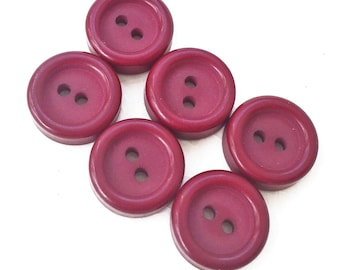 simple eco friendly Christmas cranberry red buttons with rasied rims--matching lot of 6