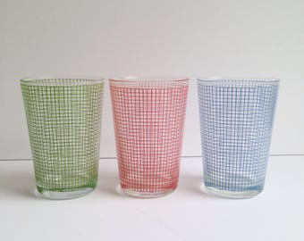 Set of 3 Color Grid Juice Glasses by Pasabahce Turkey 80s New Wave Retro
