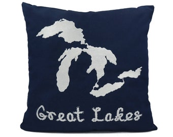"New Fabric - Great Lake - Nautical Embroidered Pillow Cover - Fits 18""x18"" Insert - Navy - Beach / Coastal / Nursery Decor (READY TO SHIP)"