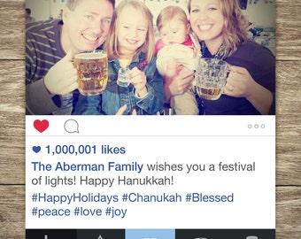 Social Media Happy Hanukkah Card, Chanukkah, Happy New Year Card, Holiday Photo Card, Happy Holiday, Holiday Greetings, HIGH-QUALITY PDF