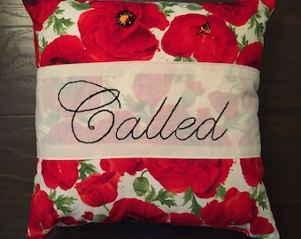 "18x18 ""Called"" hand embroidered throw pillow"