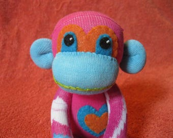 Gelf - Best Friend Sock Monkey Plush - Pink Blue Orange - Handmade Doll