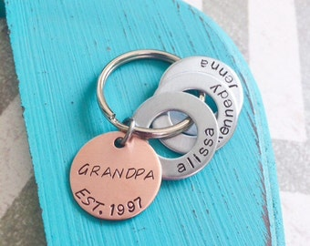 """Grandpa Keychain - Hand Stamped Keychain - Grandpa - Pops - Custom Keychain - """"Best Dad"""" - """"Best Mom"""" can be stamped in a more feminine font"""