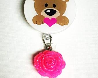 Teddy Bear - Bear - Bear Badge Holder - Badge Reel - Bear ID Holder - Teddy Bear Badge - Retractable Badge -Bear Badge Reel - Badges