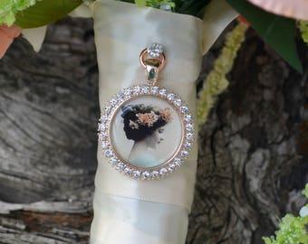 Bouquet Photo Charm Rose Gold Pink Rhinestone Round Wedding Bridal Memory Frame Bling