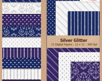 Digital Scrapbook Paper Pack - SILVER GLITTER - Instant Download