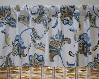 Covington Savannah Curtain Kitchen Curtain Valance Mariner Blue 52x15