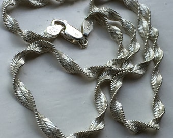 Vintage 925 Sterling Silver twisted herringbone chain necklace 7.9g 4mm 16 inches birthday anniversary gift