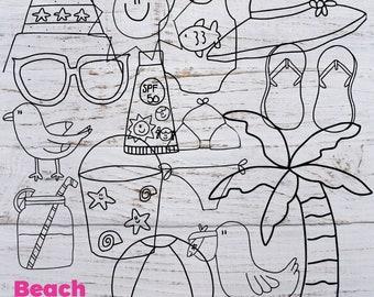Beach Doodles - Beach Digital Stamps - Beach Stamps - Summer Doodles - Summer Stamps - Beach Clipart - Summer Clipart - Digital Clipart