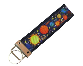 Personalized Key Chain / Key Fob Planets Solar System With Optional Initials