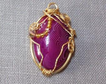 Wire wrapped purple agate pendant