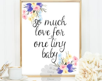 So much love for one tiny baby quote print nursery baby shower gift art poster typography baby decor nursery art quote baby birthday gift