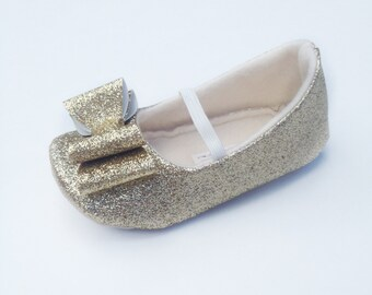 Toddler Girl Shoes Baby Girl Shoes Soft Soled Shoes Wedding Shoes Flower Girl Shoes Gold Glitter Shoes Glitter gold Shoes  - Eloise