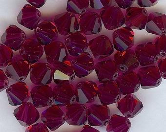 T6 5301  RU *** 15 bicone beads crystal Swarovski 6mm RUBY