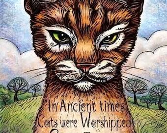 "Gods- Orange Cat Print 8"" x 10""- Cat Art Print- Cat Wall Decor- Cat Wall Art- Cat Print- Cat Gift"