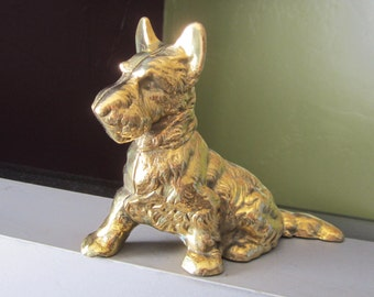 Vintage Gold Solid Brass SCOTTIE Scottish Terrier Aberdeen DOG Figurine K9 Scotty Collectible