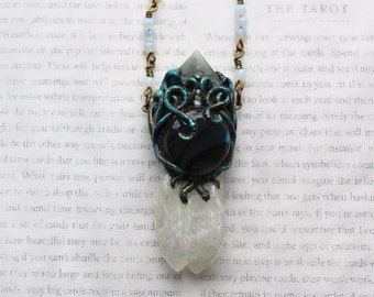 Mermaid Necklace, Mermaid Jewelry, Aura Quartz, Angel Aura, Labradorite Necklace, Polymer Clay Pendant, Aura Crystal, Vegan Necklace