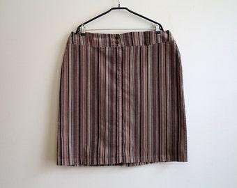 Brown Striped Corduroy Skirt Brown Pink Striped Extra Large Corduroy Skirt Striped Pencil Skirt Pencil Skirt Stretchy Corduroy Skirt