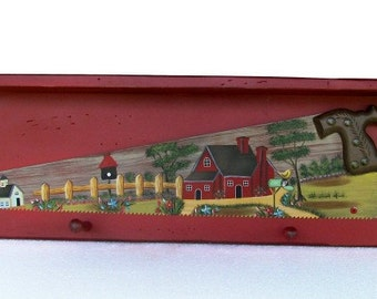 Country Shelf w/ Old Fashion Painted Art Hand Saw
