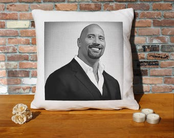 Dwayne Johnson Pillow Cushion - 16x16in - White