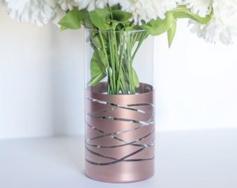 Rose Gold Vase |Rose Gold Wedding |Rose Gold Décor |Wedding Centerpiece| Bridal Shower Decor| Rose Gold Centerpiece | Rose Gold Flower Vase