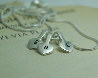 Personalised Silver Initial Heart Necklace, Custom Initial Necklace, Monogram Necklace
