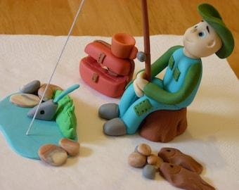 Fishing Fisherman Edible sugar paste cake topper decoration birthday party