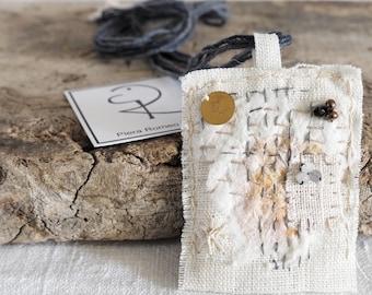 Textile Jewelry, Art to Wear, Linen, rice paper, necklace, sashiko, sashiko boro, amulet, hand-stitched, embroidered
