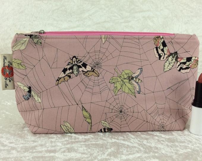 Handmade Zipper Case Zip Pouch fabric bag pencil case purse Alexander Henry Gothic Ghastlie Web Moths