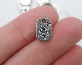 12 You are loved charms antique silver tone M39